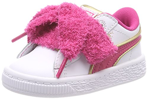 Puma Minions Basket Heart Fluffy Inf, Sneakers Basses Fille, Weiß/Pink/Gold