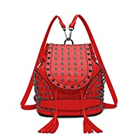 Miss Lulu Faux Leather Studded Embossed Skull Chain Backpack Shoulder Bag Travel Leisure Work School Bags