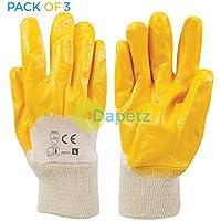 Daptez® 3x RETRO aperto Interlock Guanti in nitrile per lavoro e gestione in metallo robusto