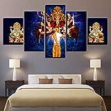 WJY Wandkunst Dekoration Poster Elefantengott 5 Stücke Wohnzimmer HD Drucken Moderne Malerei Auf Canvas 30x45cm-2p 30x60cm-2p 30x75cm-1p No Frame