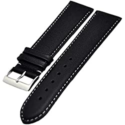 XL Extra Long Watch Strap 18 mm Finely Padded Black 4165