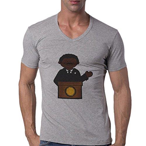 Martin L King Colorful Logo Herren V-Neck T-Shirt Grau