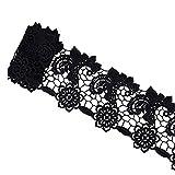 VU100 Bordure en dentelle Robe de mariée Fleur Tassel Oeillets Applique Tissu pour couture DIY Craft pour mariage saint valentin fête 1,8m Noir (Largeur: 7,9cm Noir)