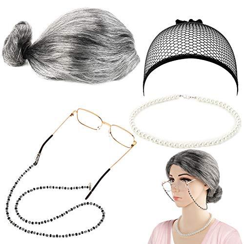 FANTESI Old Lady Kostüm Großmutter Cosplay Zubehör Set - Oma Perücke Perücke Kappe Brille Brillen Ketten Armband Perlenkette - 5 Stück (Kostüme Für Alte Dame Halloween)