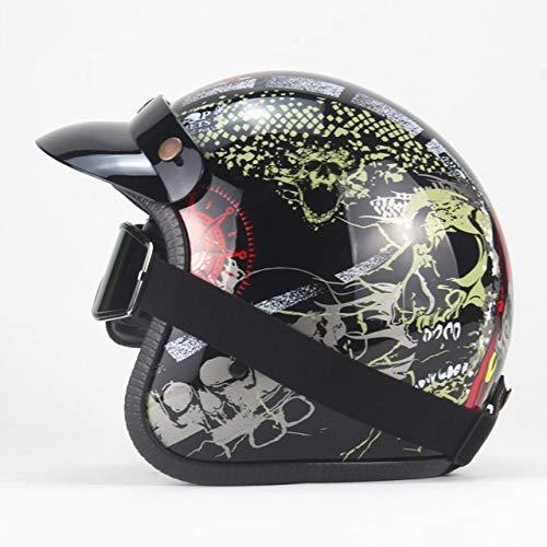 Magneto Kinder Kostüm - Helm Motorrad Retro Open Face Retro Racing Motorradhelm Mit Schutzbrille Maske HD Schwarz 3 XL