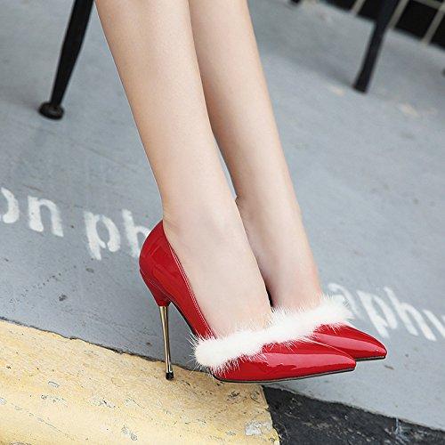 GS~LY Geschenk der Mutter Tages Vier Jahreszeiten flachen Mund mit High Heels Red