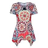 NEEKY Damen Casual Kurzarm Tunika Tops - Frauen Fashion Swing Sommer Bluse Floral Bedruckt Flare T Shirt