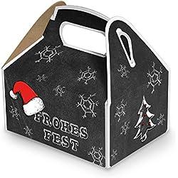 20 kleine Weihnachtsschachtel Geschenk-box Geschenk-Karton Weihnachten schwarz weiß rot FROHES FEST 9 x 12 x 6 cm Verpackung weihnachtlich für Kunden Mitarbeiter vintage zum Befüllen