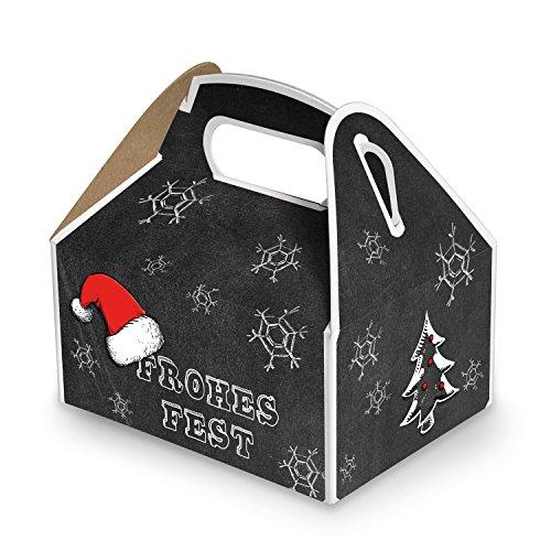 20 kleine Weihnachtsschachtel Geschenk-box Geschenk-Karton Weihnachten schwarz weiß rot FROHES FEST 9 x 12 x 6 cm Verpackung weihnachtlich für Kunden Mitarbeiter vintage zum