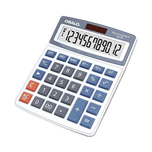 Rziioo Taschenrechner 12-stellige extra große LCD-Anzeige Standardfunktion Dual-Power-Tischrechner,OS3M - Große Taschenrechner 8-stellige Anzeige