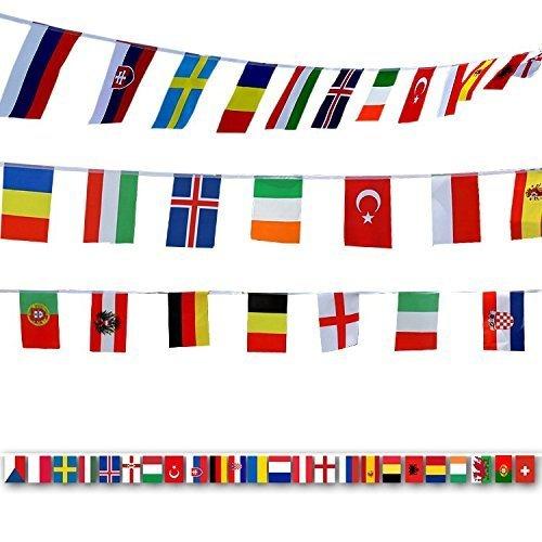 Fahnenkette Wimpelkette mit 100 Zufällige Länder Fahnen Flaggen Perfekte Dekorationen für Bar, Party, Festival, Sportvereine (32PCS) ()