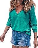 Meyison Damen V Ausschnitt Casual Shirts Knit Pullover Tops Grün-XXL