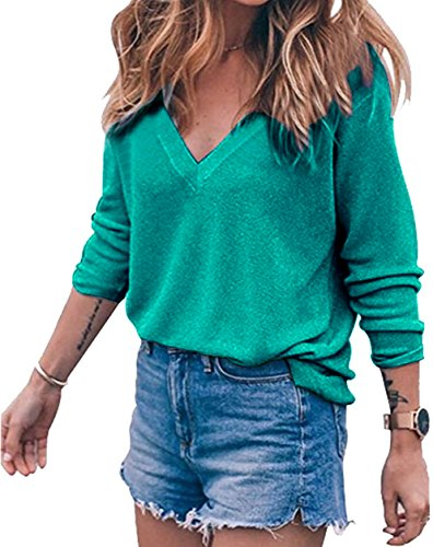 Meyison Damen V Ausschnitt Casual Shirts Knit Pullover Tops Grün-L (Knit Top Casual)