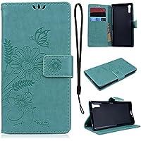 CE-Link für Sony XZ Handyhülle Hülle Ledertasche Schutzhülle Leder Huelle mit Grün Schmetterling Blumen Stand... preisvergleich bei billige-tabletten.eu