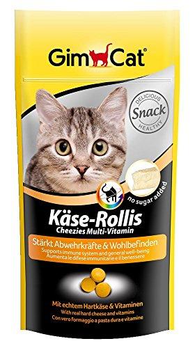 GimCat Käse-Rollis Multi-Vitamin | vitaminreicher Katzensnack mit echtem Hartkäse für starke Abwehrkräfte | ohne Zuckerzusatz | 3 Beutel (3 x 40 g)