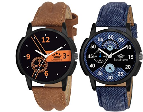 LimeStone Casual Analog Multicolour Leather Strap & Multicolour Dial Men's / Boy's Watches Combo (Pack of 2)