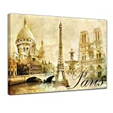 Bilderdepot24 Kunstdruck - Paris - Bild auf Leinwand - 40 x 30 cm - Leinwandbilder - Bilder als Leinwanddruck - Wandbild Städte & Kulturen - Europa - Frankreich - Collage