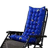Souarts Stuhlauflage Hochlehner Auflage mit dicker Comfort Polsterung geeignet für Gartenstuhl Klappsessel Liegestuhl Stern Mond Muster 125x48cm (Blau)