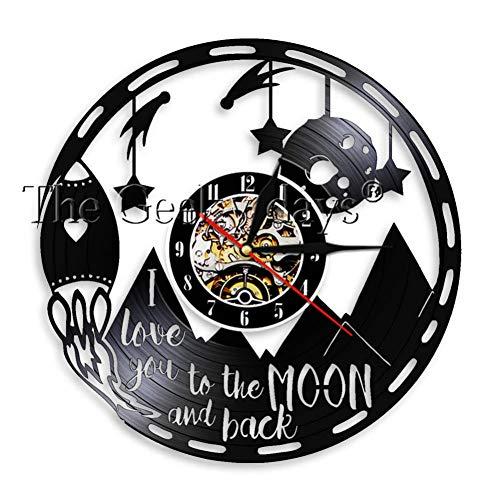 Bis Zum Mond Und Zurück Liebe Zitat Vintage Schallplatte Wanduhr Romantik Liebe Valentine Home Decor Clock Paare Geschenk ()