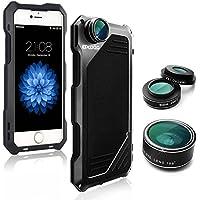 iPhone 6/6s Lenti per cellulare Kit,OXOQO 3 in 1 Lente Fisheye 198°+ Lente Macro 15X + Lente Grandangolo con IP54 telaio in alluminio antiurto caso,Built-in Proteggi schermo 4.7 Inches(Nero)