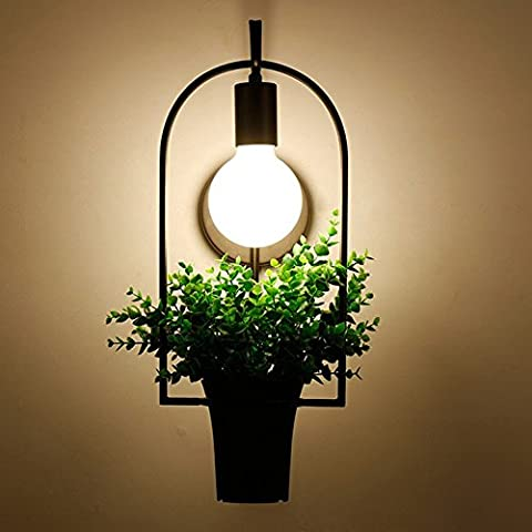Rustic plant pot wrought iron wall lamp decorative lighting idea lamp living room balcony, coffee shop, bar restaurant