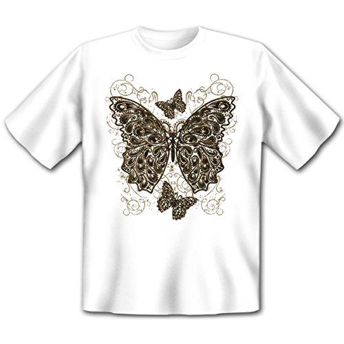 Damen und Herren T-Shirt mit dem Motiv: Industrial butterfly Größe: Farbe: weiss - von van Petersen Shirts Weiß