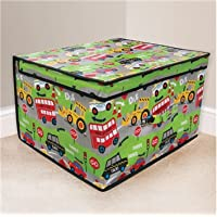 Roadworks Foldable Pop Up Room Tidy Storage Chest Toy Box for Girls and Boys, Fabric, Green, 50 x 30 x 40 cm