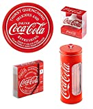Official Coca Cola Coke 4 Piece Gift Set - Bar Tray, Coasters, Wall Mounted Bottle Opener, Tin Straw Holder inc 50 Straws