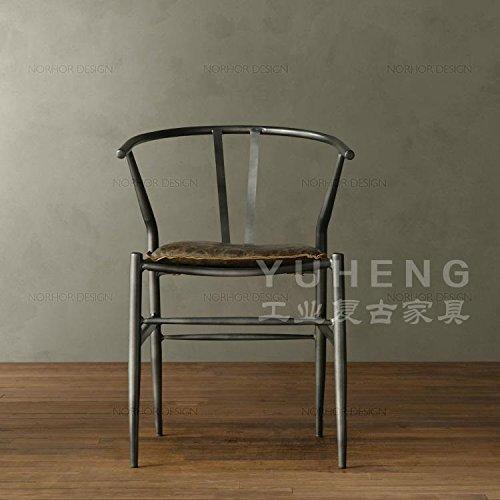American vintage ferro battuto sedia da pranzo computer di ufficio Sedie in legno massiccio sgabelli bar barra di metallo sedia poltrona,Nero