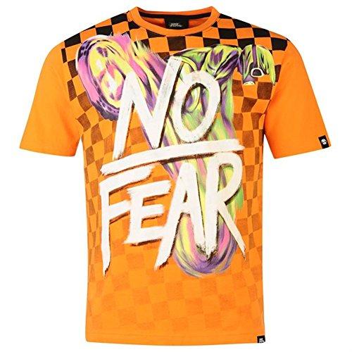 No Fear Moto Graphic Herren T-Shirt, orange Checker (XL) Orange Checker