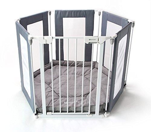 Parque para bebé 3 en 1, resistente y duradero, hecho de materiales no tóxicos de la más alta calidad, color blanco y gris, cuenta con 6 paneles que permiten usarlo como parque de juego, separador de espacios o barrera de seguridad, marca All Star