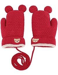 Gants Enfants Filles Garçons Moufles Tricot Hiver Epais Mitaines  Plein-doigts Thermique Motif Ours Adorable d72e20bdf8f