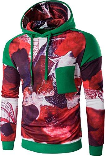 jeansian Uomo Moda Sport All'aperto Felpa Pullover Maglieria Felpe Sweater Hoodie 88L0 Green