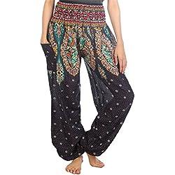 Lofbaz las mujeres Pantalones Harem Boho de cintura alforzada Floral Azul oscuro S
