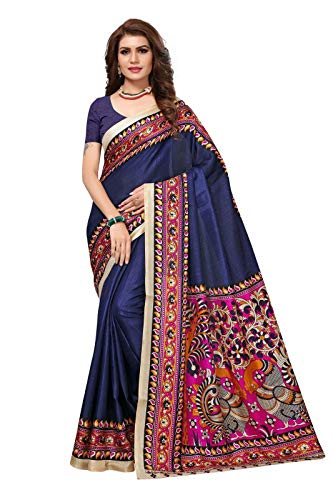 AKSHAR STORE Soft Art Khadi Silk Saree With Blouse Piece (Kalamkari-9 Navy_Navy and Multi_Free Size)