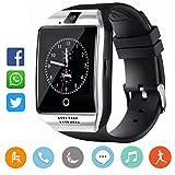 CatShin Smartwatch damen/herren-Armband Sport Uhr Mit TF SIM Kartenschlitz Fitnessuhr Fitness Tracker Intelligente Armbanduhr mit Kamera Schrittzähler Schlaftracker Kompatibel für Android/IOS-SILBER