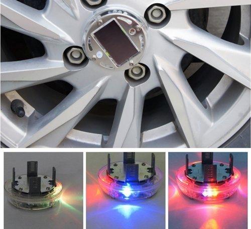 Licht Rad Ventilkappen (USUN 4pcs LED Reifen Licht Auto radlichter Sonnenenergie Energien Blitz Rad Reifen Ventilkappen Neon Licht Lampe)