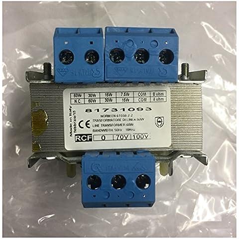 RCF TD60Universal 60W transformador de línea para conectar altavoces (4–8Ohmios Impedancia) para líneas de voltaje constante (70–100V)