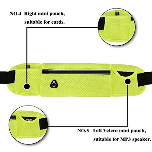 Wander-Hüfttaschen Wasserdicht Bauchtasche Jogging Tasche Gürteltasche mit Reissverschluss By Sijueam Gelb