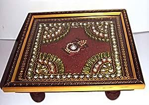 Pooja Chowki, Puja Chowki, Pooja decorative kalash chowki, Designer Pooja Chowki
