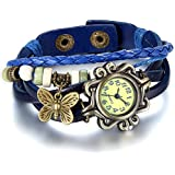 JewelryWe Damen Armbanduhr, Retro Vintage Analog Quarz Uhr mit Schmetterling Beads Kugeln Charm Leder Armkette Armband, 5 verschiedene Farben