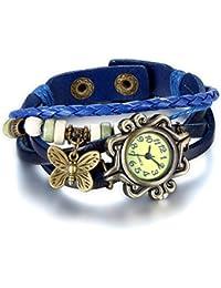 Jewelrywe Joyas pulsera de cuero de las mujeres, reloj de pulsera hermosa, Retro vintage Pulsera Látex Diseño ajustable con mariposa (azul)