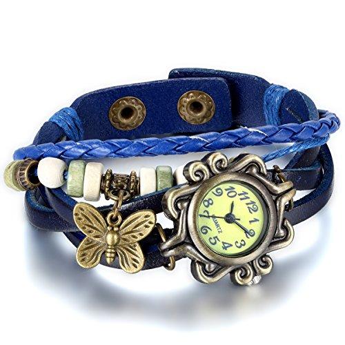 Jewelrywe Gioielli Uomo e Donna Bracciale in pelle, Orologio da polso di bella, Braccialetto Lattice regolabile,Progettare con Farfalla (Blue)