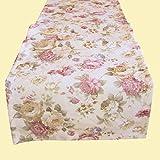 heimtexland ® LANDHAUS Rosen Tischläufer in 40x150 cm aus hochwertigem Jacquard in creme rosé mit Blumen Druck Rose - Tischdecke Country Chic Typ442