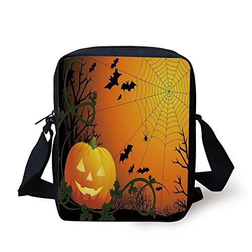 Spider Web,Halloween Themed Composition with Pumpkin Leaves Trees Web and Bats Decorative,Orange Dark Green Black Print Kids Crossbody Messenger Bag Purse