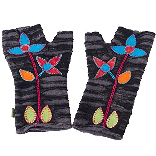 Vishes – alternative Bekleidung – bestickte Handstulpen aus Fleece mit Cutwork – Unikat schwarz-grau-bunt mit Blumen Einheitsgröße