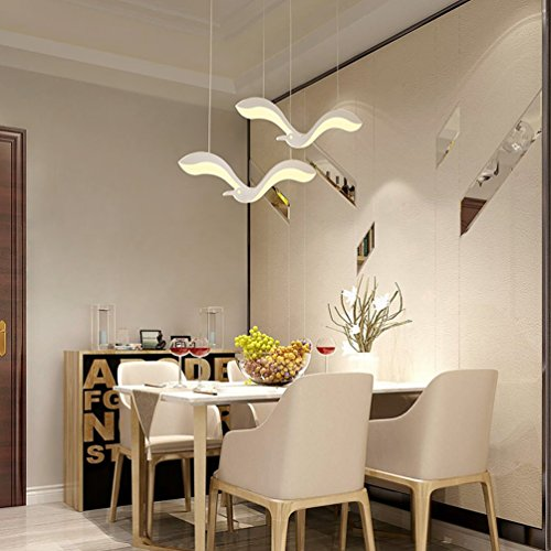 Personalisierte Kreative Pendelleuchte Modern LED Wohnzimmerlampe mattweiß Metall Möwe Design Kronleuchter Innenbeleuchtung Hängeleuchte Acryl Lampenschirm Hängelampe Warmes Licht 3000K, 2-flammig