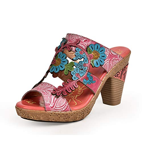 Suetar Damen Vintage National Style 8.5CM Block Ferse Sandalen
