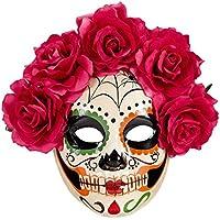 Cagoule tête de mort La Catrina Masque Sugar Skull avec roses rouges masque jour des morts déguisement de visage crâne mascarade crâne mexicain masque d'Halloween jour des morts