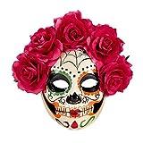 Careta esquelética La Catrina Máscara Sugar Skull con Rosas Rojas Antifaz...